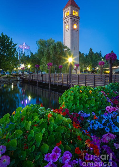 America Greeting Card featuring the photograph Spokane Clocktower By Night by Inge Johnsson