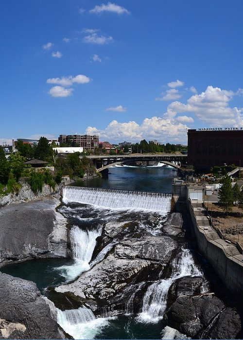 Spokane River Greeting Card featuring the photograph Spokane Falls And Riverfront by Michelle Calkins