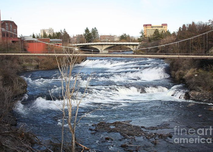 Spokane Falls Greeting Card featuring the photograph Spokane Falls In Winter by Carol Groenen