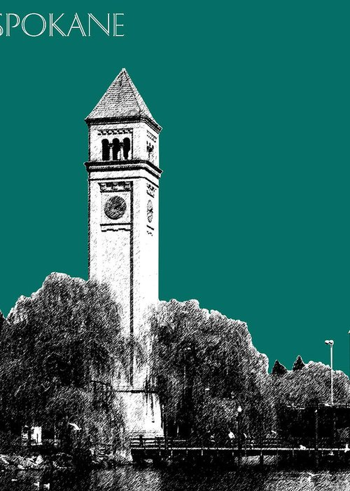 Architecture Greeting Card featuring the digital art Spokane Skyline Clock Tower - Sea Green by DB Artist