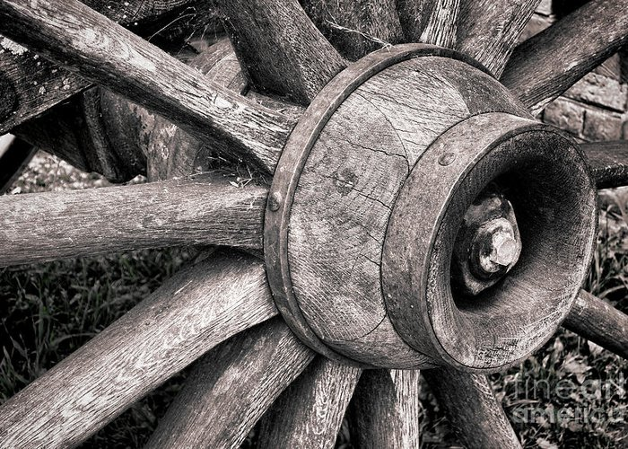 Wheel Greeting Card featuring the photograph Spokes And Axle by Olivier Le Queinec
