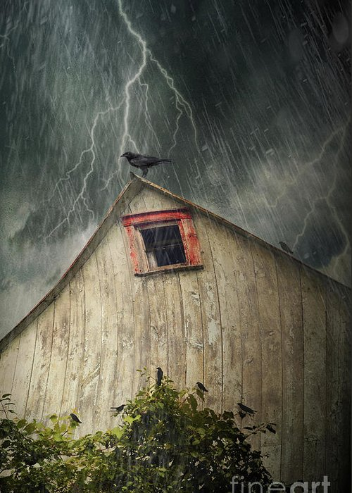 Abandoned Greeting Card featuring the photograph Spooky Old Barn With Crows On A Stormy Night by Sandra Cunningham