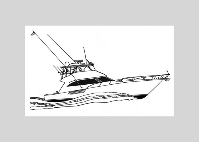 Yacht Portraits Greeting Card featuring the drawing Sport Fishing Yacht by Jack Pumphrey