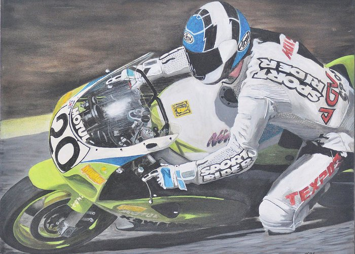 Motorcycle Greeting Card featuring the painting Sport Rider by Denis Gloudeman