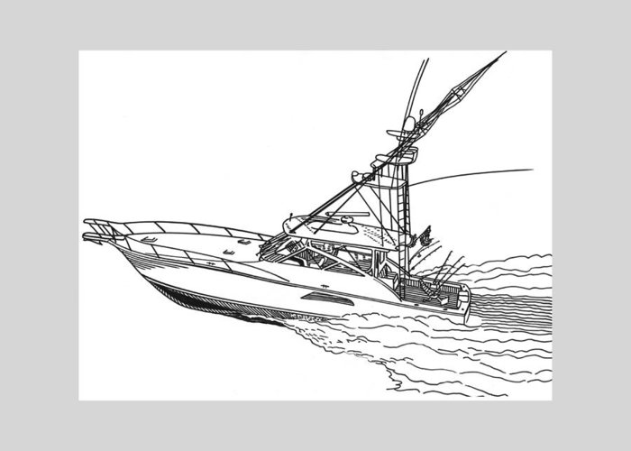 Yacht Portraits Greeting Card featuring the drawing Sportfishing Yacht by Jack Pumphrey