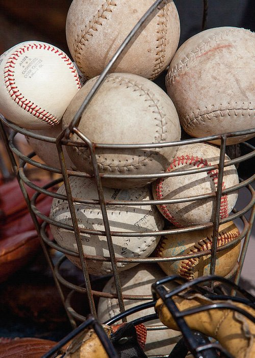 Balls Greeting Card featuring the photograph Sports - Baseballs And Softballs by Art Block Collections