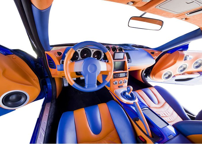 Audio Greeting Card featuring the photograph Sports Car Interior by Ioan Panaite