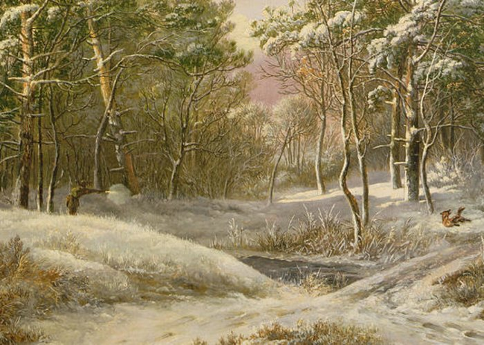 Sportsmen Greeting Card featuring the painting Sportsmen In A Winter Forest by Pieter Gerardus van