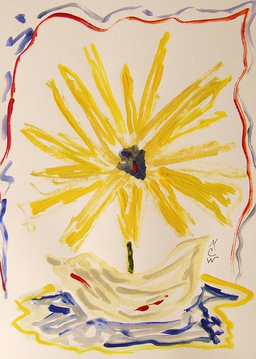 Flower Greeting Card featuring the painting Spotlight On Yellow by Mary Carol Williams