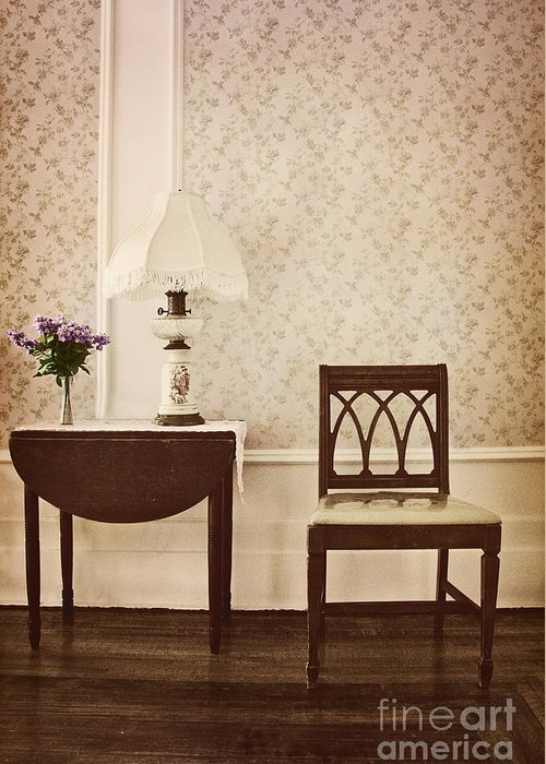 Chair; Table; Inside; Seat; Indoors; Empty; Floral Design; Alone; Brown; One; Interior; Still Life; House; Home; Wall Paper; Pretty; Wood; Floor; Runner; Side; Table; Lamp; Shade; Vase; Flowers; Lilacs Greeting Card featuring the photograph Sprig Of Lilacs by Margie Hurwich