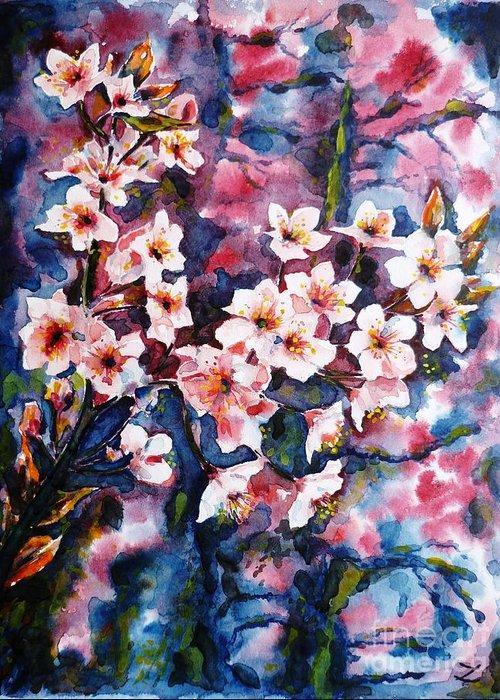 Sakura Greeting Card featuring the painting Spring Beauty by Zaira Dzhaubaeva