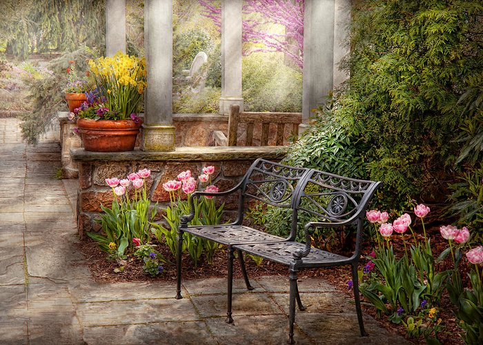 Spring Greeting Card featuring the photograph Spring - Bench - A Place To Retire by Mike Savad