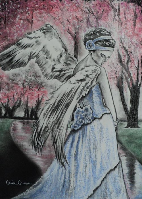 Angel Greeting Card featuring the drawing Spring Blossom Angel by Carla Carson