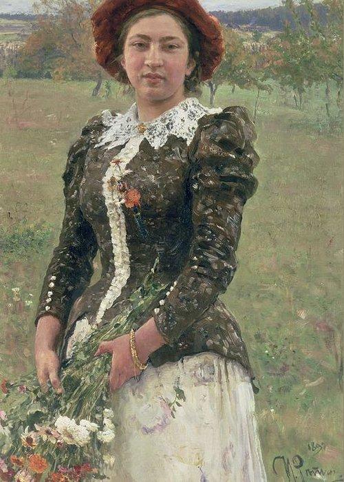 Female; Woman; Flowers; Exterior; Peredvizhniki; Peredvizhniki Group Greeting Card featuring the painting Spring Bouquet by Ilya Efimovich Repin