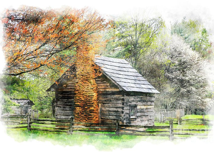 North Carolina Greeting Card featuring the painting Spring Cabin II - Blue Ridge Parkway by Dan Carmichael