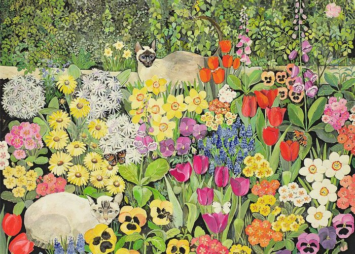 Pansy; Tulip; Daffodil; Primula; Flower Bed; Foxglove; Grape Hyacinth; Flowers; Butterfly Greeting Card featuring the painting Spring Cats by Hilary Jones