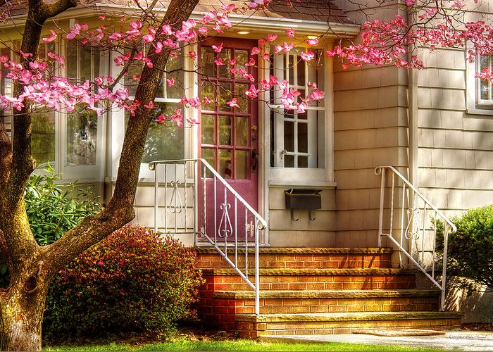 Savad Greeting Card featuring the photograph Spring - Door - Dogwood by Mike Savad