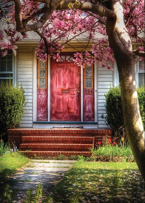 Savad Greeting Card featuring the photograph Spring - Door - Westfield Nj - Pink by Mike Savad