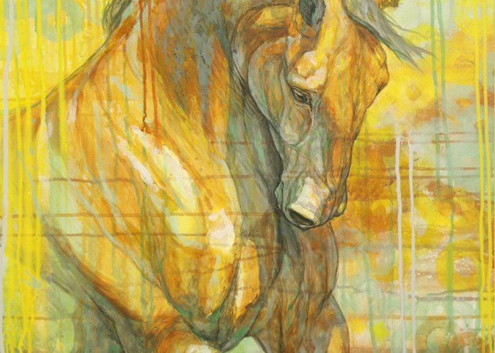 Horse Greeting Card featuring the painting Spring Energy by Silvana Gabudean Dobre