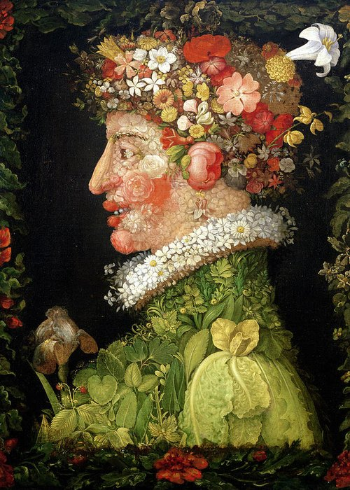 Arcimboldo Greeting Card featuring the painting Spring, From A Series Depicting The Four Seasons by Giuseppe Arcimboldo