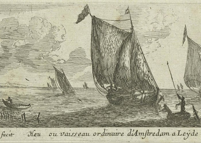 Sailing-ship Greeting Card featuring the drawing Spring From Amsterdam To Leiden, The Netherlands by Reinier Nooms