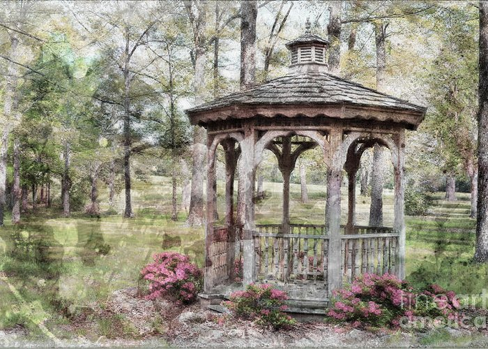 Nature Greeting Card featuring the photograph Spring Gazebo Painteffect by Debbie Portwood
