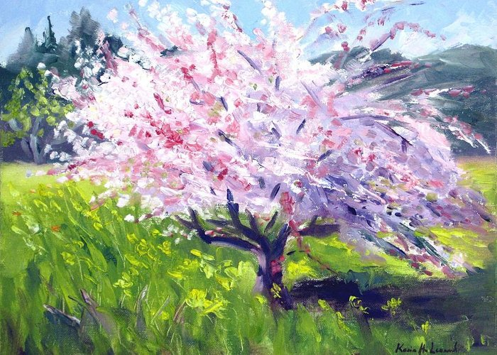 Spring Blossoms Greeting Card featuring the painting Spring Glory by Karin Leonard