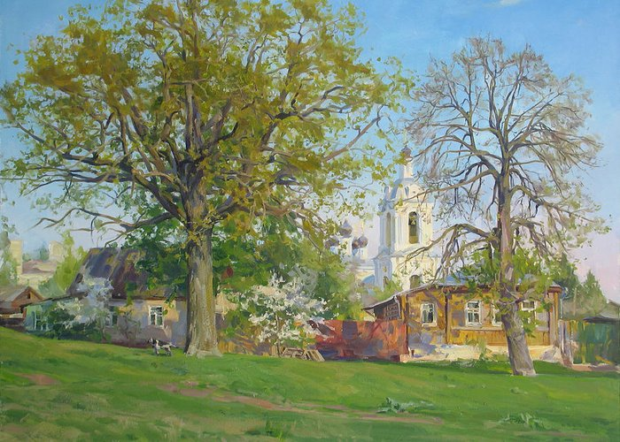 Lanscape Greeting Card featuring the painting Spring In Kaluga by Victoria Kharchenko