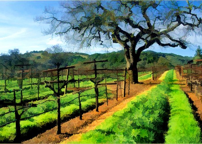 Wine Greeting Card featuring the painting Spring In The Vineyard by Elaine Plesser