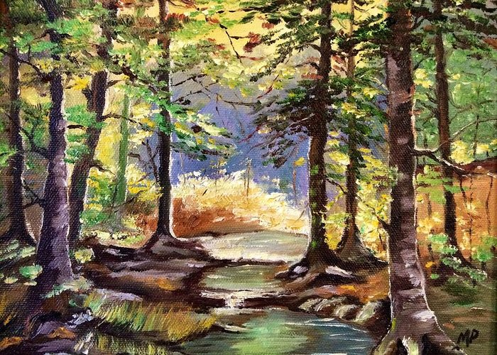Landscape Greeting Card featuring the painting Spring In Woods by Marta Perroni