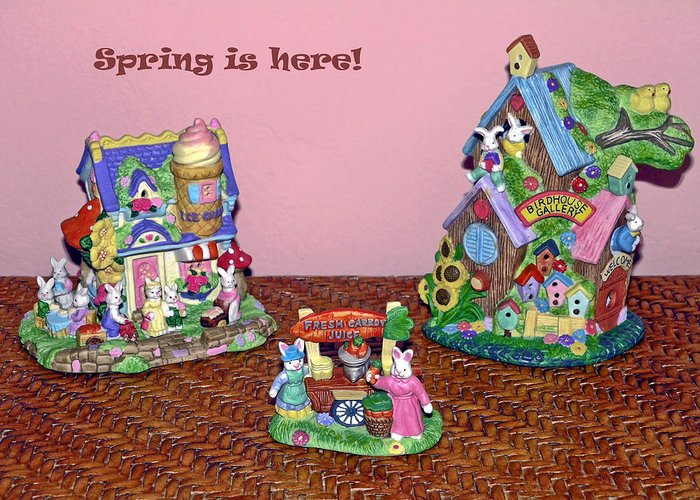 Ceramic Spring Decorations Greeting Card featuring the photograph Spring Is Here by Sally Weigand