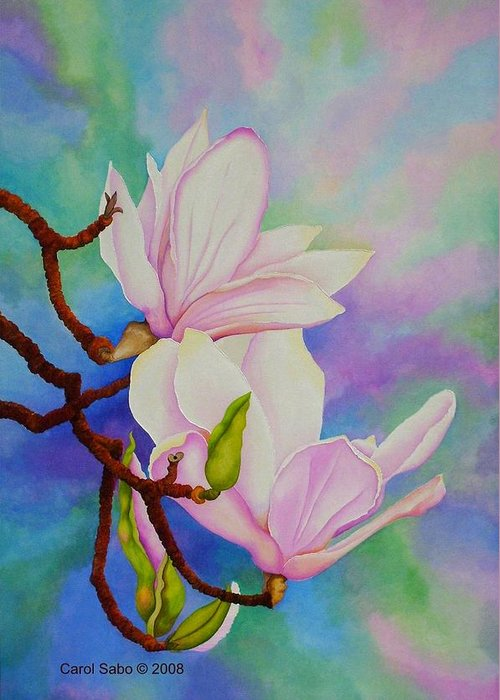 Pastels Greeting Card featuring the painting Spring Magnolia by Carol Sabo