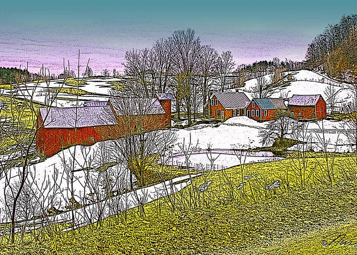 Landscape Greeting Card featuring the digital art Spring Melt At Jenne Farm by Nancy Griswold