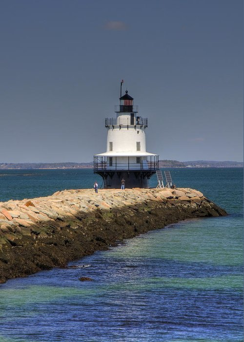Ocean Greeting Card featuring the photograph Spring Point Ledge Light by Joann Vitali