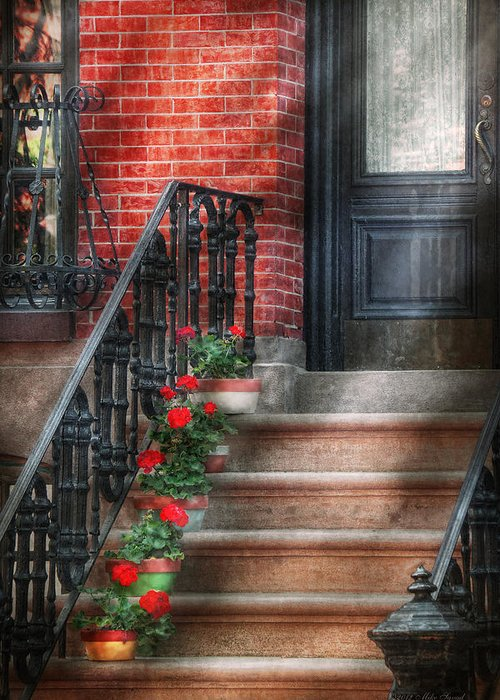 Hoboken Greeting Card featuring the photograph Spring - Porch - Hoboken Nj - Geraniums On Stairs by Mike Savad