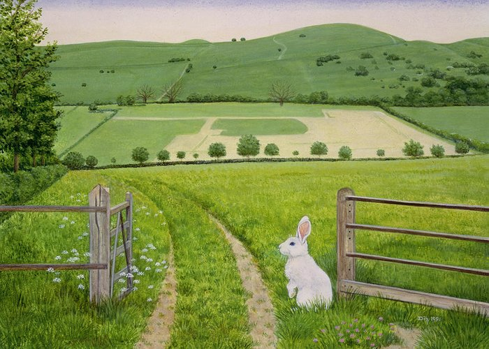 Fence Greeting Card featuring the painting Spring Rabbit by Ditz