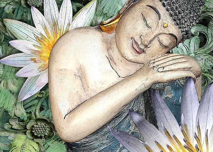 Buddha Greeting Card featuring the digital art Spring Serenity by Christopher Beikmann