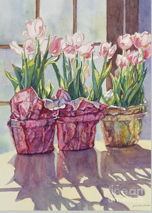 Tulips In Pots Greeting Card featuring the painting Spring Shadows by Jan Landini