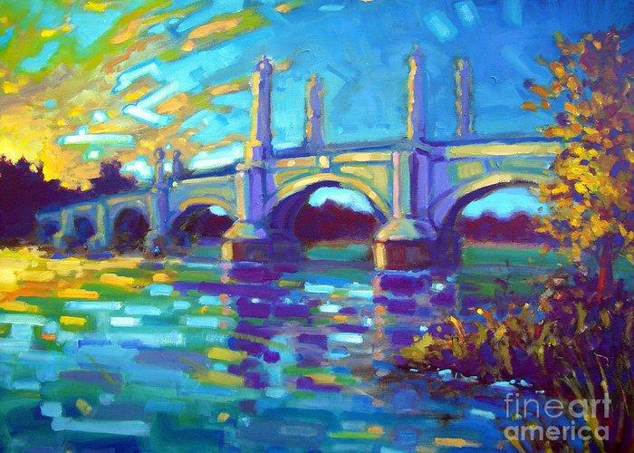 Bridges Greeting Card featuring the painting Springfield Memorial Bridge by Caleb Colon