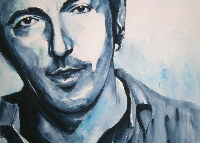 Springsteen Greeting Card featuring the painting Springsteen by Brian Degnon