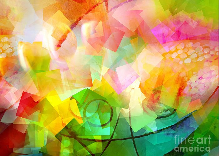 Spring Greeting Card featuring the digital art Springtime Abstract by Lutz Baar