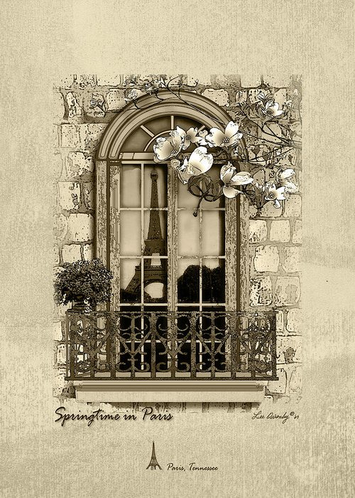 Eiffel Tower Greeting Card featuring the mixed media Springtime In Paris In Sepia by Lee Owenby
