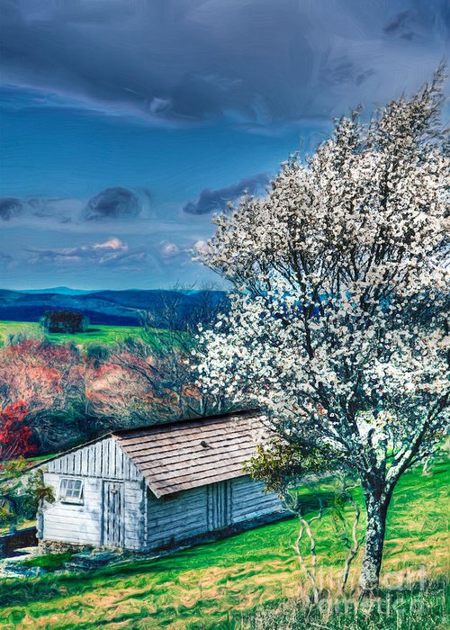 North Carolina Greeting Card featuring the painting Springtime In The Blue Ridge Mountains II by Dan Carmichael