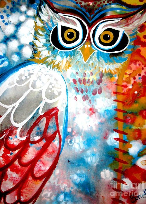 Owl Greeting Card featuring the painting Sprinkles by Amy Sorrell