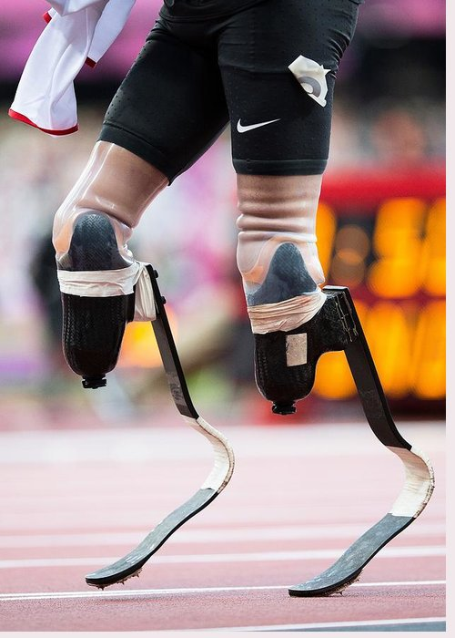 Athlete Greeting Card featuring the photograph Sprinter At Start Of Paralympics 100m by Science Photo Library