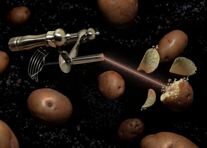 Potato Greeting Card featuring the digital art Spuds The Final Frontier by Randy Turnbow