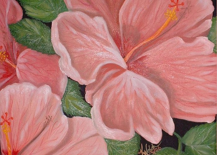 Hibiscus Greeting Card featuring the painting Square Foot Hibiscus by Kathern Welsh