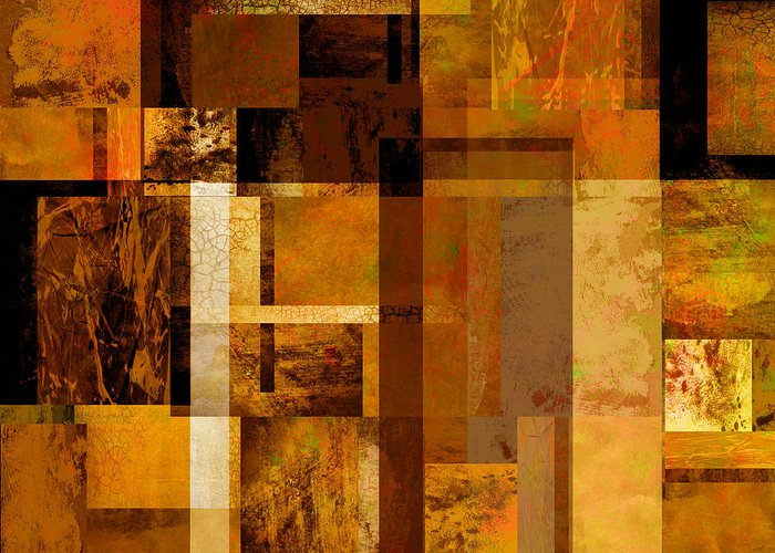 Abstract Greeting Card featuring the digital art Squares And Rectangles by Ann Powell