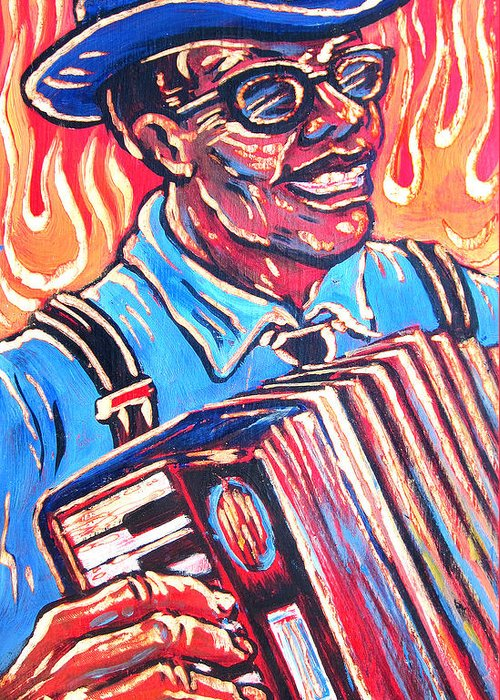 Blues Greeting Card featuring the painting Squeezebox Blues by Robert Ponzio