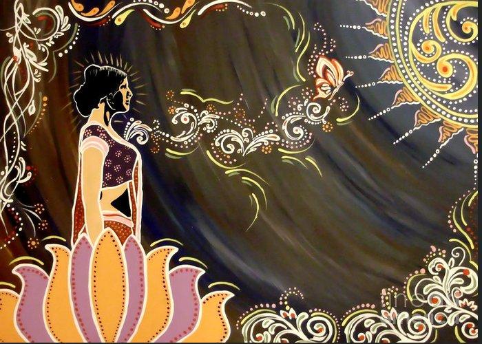Diwali Greeting Card featuring the painting Sri Lalita by Meenakshi Malhotra
